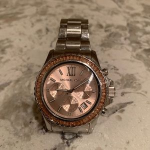 Michael Kors Watch Silver Band Rose Gold Face